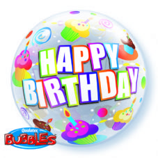 Happy Birthday Cupcakes Bubble Balloon